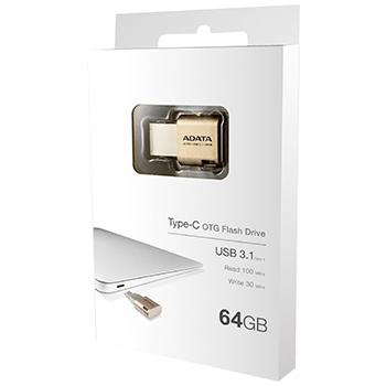 USB 3.1 Type-C & USB 2.0/3.0 Type-A両対応 フラッシュドライブ ゴールド/64GB AUC350-64G-CGD(FMDI012354)