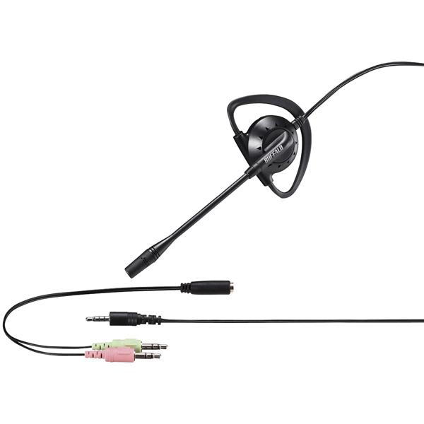 片耳イヤフック式モノラルヘッドセット 4極&3極ミニプラグ接続 ブラック BSHSECM110BK(FMDI010277)