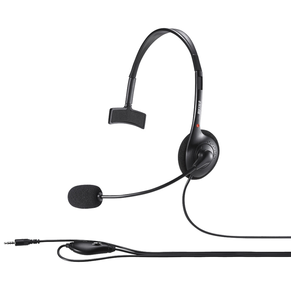片耳ヘッドバンド式モノラルヘッドセット 4極ミニプラグ接続 ブラック BSHSHCM100BK(FMDI009011)