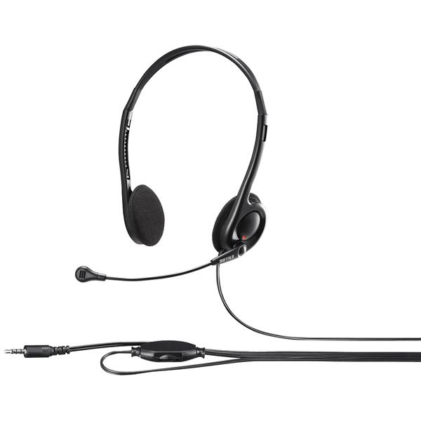 両耳ヘッドバンド式ステレオヘッドセット 4極ミニプラグ接続 ブラック BSHSHCS100BK(FMDI010279)