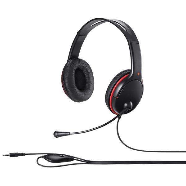 両耳ヘッドバンド式ステレオヘッドセット 4極ミニプラグ接続 ブラック BSHSHCS300BK(FMDI009012)