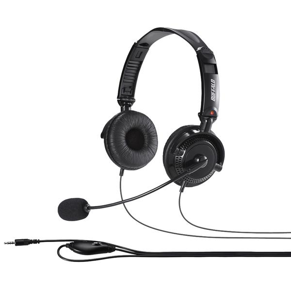 両耳ヘッドバンド式ステレオヘッドセット 4極ミニプラグ接続/折りたたみタイプ ブラック BSHSHCS310BK(FMDI009013)