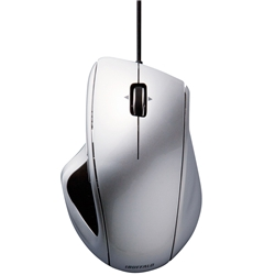 有線BlueLEDマウス 5ボタン/静音/横スクロールタイプ シルバー・BSMBU18SV(FMDI004060)
