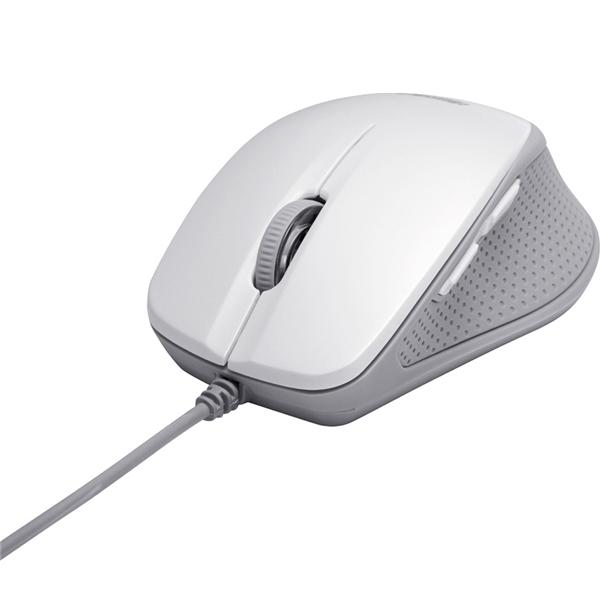 有線BlueLEDマウス 静音/5ボタンタイプ ホワイト・BSMBU19WH(FMDI004067)