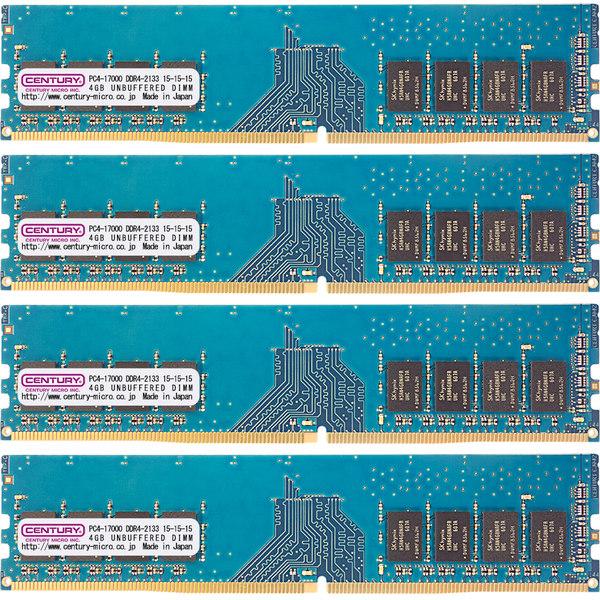PC4-17000/DDR4-2133 16GBキット(4GB 4枚組) 288-pin UDIMM 1.2v 日本製 1rank 型番:CK4GX4-D4U2133H(FMDI010884)