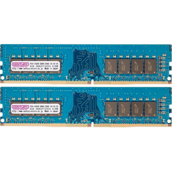 PC4-19200/DDR4-2400 16GBキット(8GB 2枚組) 288-pin UDIMM 1.2v 日本製 型番:CK8GX2-D4U2400(FMDI010967)