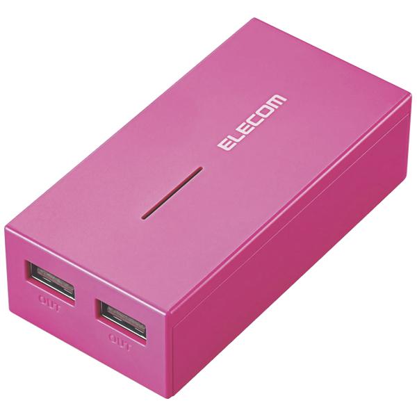 モバイルバッテリー/軽量コンパクト/まとめて充電対応/6000mAh/3A/ピンク DE-M01L-6030PN(FMDI005643)