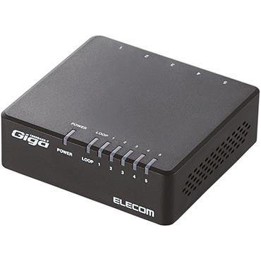 Giga対応スイッチングHub/5ポート/プラスチック筐体/磁石付き/電源外付/ブラック EHC-G05PA-JB-K(FMDI004424)