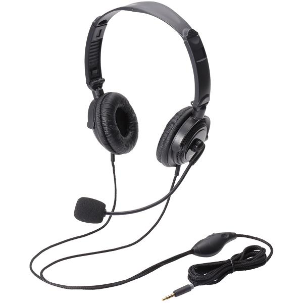4極ヘッドセットマイクロフォン/両耳/オーバーヘッド/折り畳み式/ブラック HS-HP20TBK(FMDI005553)
