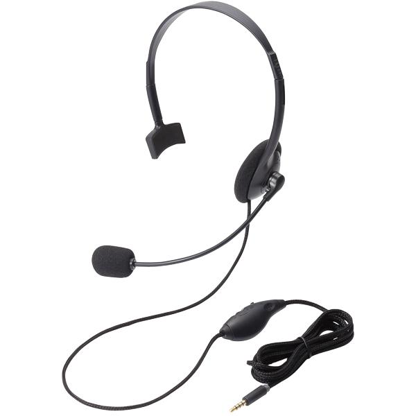 4極ヘッドセットマイクロフォン/片耳/オーバーヘッド/ブラック HS-HP21TBK(FMDI005555)