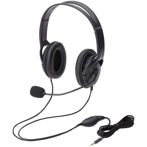 4極ヘッドセットマイクロフォン/両耳/オーバーヘッド/40mm/ブラック HS-HP23TBK(FMDI005557)
