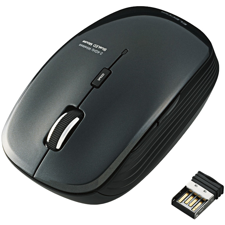 ワイヤレスBlueLEDマウス/静音5ボタン/2.4GHz/ブラック M-BL21DBSBK(FMDI008093)