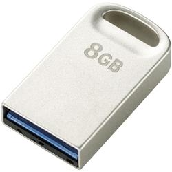 セキュリティソフト対応 超小型USB3.0メモリ/8GB/シルバー MF-SU308GSV(FMDI002266)