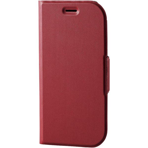 らくらくスマートフォン me用ソフトレザーカバー/薄型/磁石付/レッド PD-F03KPLFURD(FMDI010386)