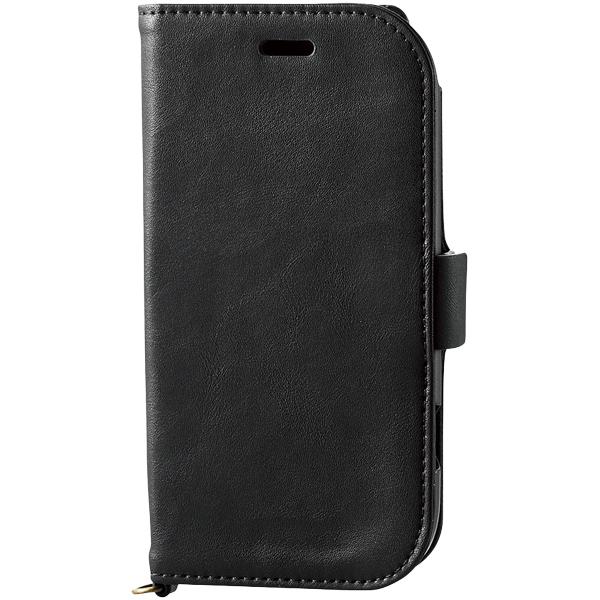 らくらくスマートフォン me用ソフトレザーカバー/磁石付/ブラック PD-F03KPLFYBK(FMDI010387)