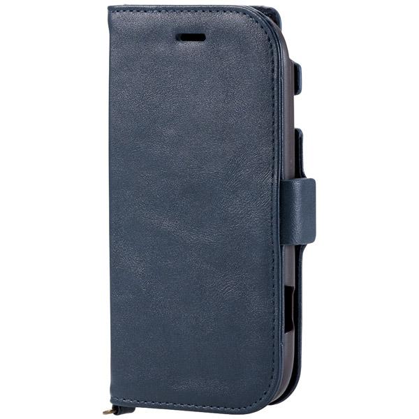 らくらくスマートフォン4(F-04J)/ソフトレザーカバー/サイドマグネット/ネイビー PD-F04JPLFYMNV(FMDI006738)