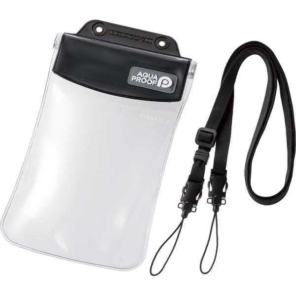 スマートフォン用防水・防塵ケース/オールクリア/Lサイズ/ブラック P-WPSAC02BK(FMDI010441)