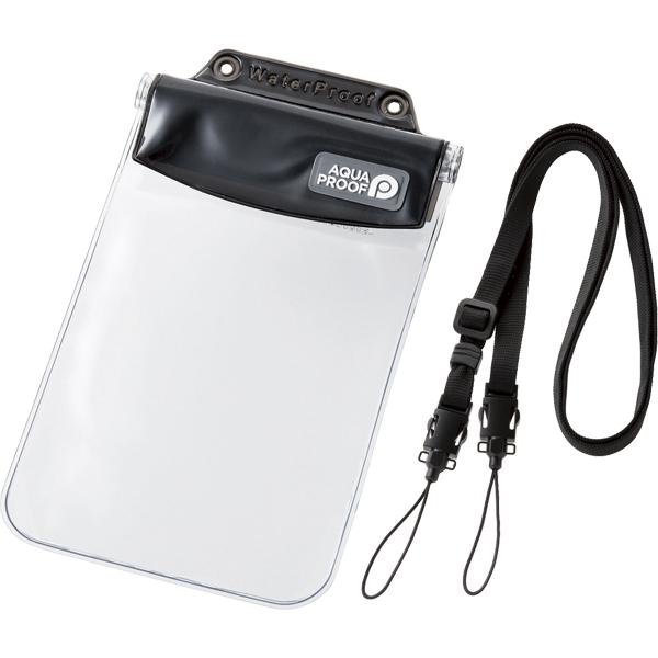 スマートフォン用防水・防塵ケース/オールクリア/XLサイズ/ブラック P-WPSAC03BK(FMDI010442)