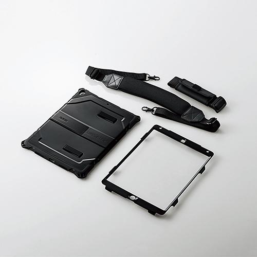 10.5インチiPad Pro 2017年モデル用フルプロテクトケース/ZEROSHOCK/耐衝撃/ショルダーベルト付/ブラック TB-A17HVBK(FMDI009748)