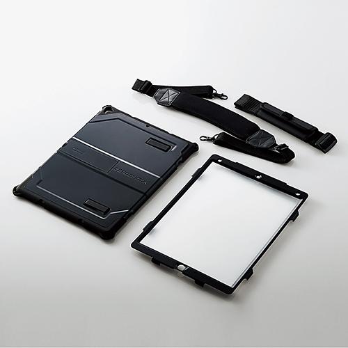 12.9インチiPad Pro 2017年/2015年モデル対応フルプロテクトケース/ZEROSHOCK/耐衝撃/ショルダーベルト付/ブラック TB-A17LHVBK(FMDI009760)
