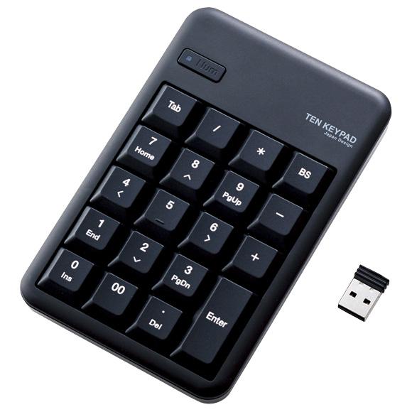ワイヤレステンキーボード/Mサイズ/メンブレン/高耐久/ブラック TK-TDM017BK(FMDI008538)