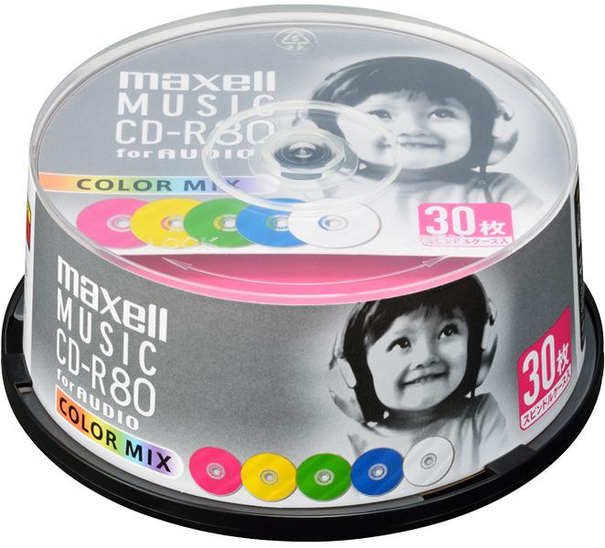 音楽用CD-R 「カラーMIX」 80分 (30枚スピンドル)CDRA80MIX.30SP(FMDI004769)