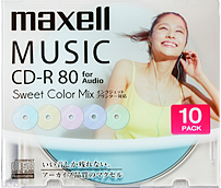 音楽用CD-R「Sweet Color Mix Series」 80分 (10枚パック)CDRA80PSM.10S(FMDI004776)