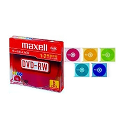 データ用1-2倍対応DVD-RW4.7GB 5枚パック 1枚ずつプラケース入 カラ-MIX DRW47MIXB.S1P5S A(FMDI004873)
