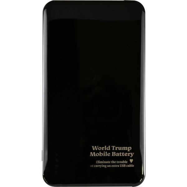 ケーブル収納機能付きモバイルバッテリー 世界トランプ ブラック JF-PEACE6MK(FMDI007526)