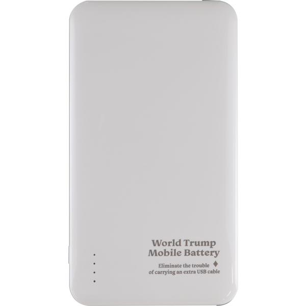ケーブル収納機能付きモバイルバッテリー 世界トランプ ホワイト JF-PEACE6MW(FMDI007527)