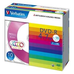 DVD-R 4.7GB PCデータ用 16倍速対応 10枚スリムケース入り カラーミックス(FMDI001126)