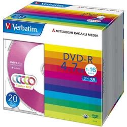DVD-R 4.7GB PCデータ用 16倍速対応 20枚スリムケース入り カラーミックス DHR47JM20V1(FMDI004879)