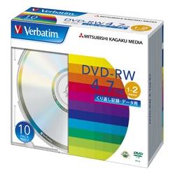 DVD-RW 4.7GB PCデータ用 2倍速対応 10枚スリムケース入り シルバーディスク DHW47N10V1(FMDI004888)