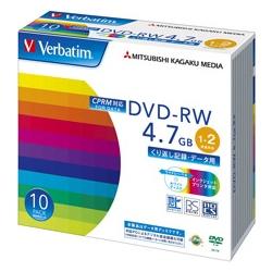 DVD-RW 4.7GB CPRM PCデータ用 2倍速対応 10枚スリムケース入り ワイド印刷可能 DHW47NDP10V1(FMDI004889)