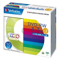 DVD-RW 4.7GB PCデータ用 2倍速対応 10枚スリムケース入り カラーミックス DHW47NM10V1(FMDI004891)
