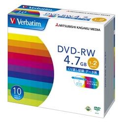 DVD-RW 4.7GB PCデータ用 2倍速対応 10枚スリムケース入り ワイド印刷可能 DHW47NP10V1(FMDI004892)