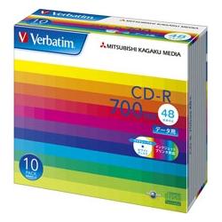 CD-R 700MB PCデータ用 48倍速対応 10枚スリムケース入り ワイド印刷可能 SR80SP10V1(FMDI004841)
