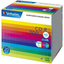 CD-R 700MB PCデータ用 48倍速対応 20枚スリムケース入り ワイド印刷可能 SR80SP20V1(FMDI004843)