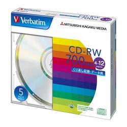 CD-RW 700MB PCデータ用 12倍速 5枚スリムケース入り シルバーディスク(FMDI001134)
