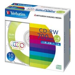 CD-RW 700MB PCデータ用 4倍速 10枚スリムケース入り カラーミックス SW80QM10V1(FMDI004849)