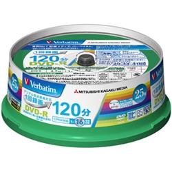 DVD-R(CPRM) 録画用 120分 1-16倍速 スピンドルケース25枚パック ワイド印刷対応 VHR12JP25V1(FMDI004897)