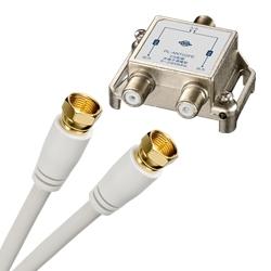 全端子電流通過型 アンテナ2分配器+F型ネジ固定式アンテナケーブル(1m) 2本セット(FMDI001115)