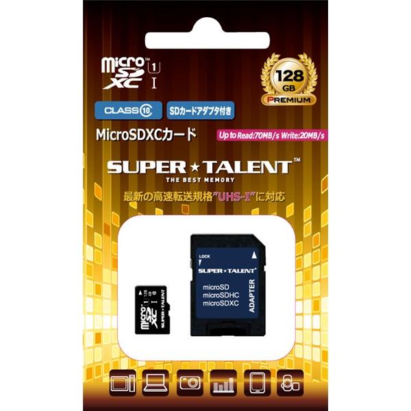 UHS-I microSDXCメモリーカード 128GB Class10 SDXC変換アダプタ付 ST28MSU1P(FMDI013361)