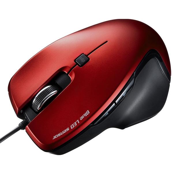 有線ブルーLEDマウス(レッド) MA-S1R(FMDI008700)