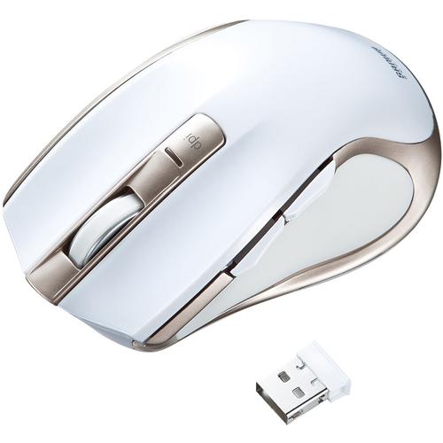 ワイヤレスブルーLEDマウス(ホワイト) MA-WBL38W(FMDI008143)