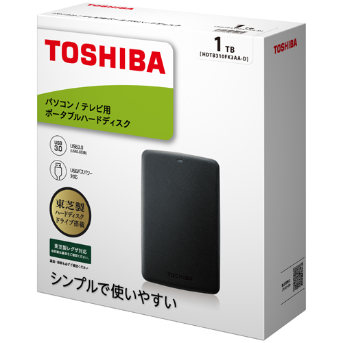 ポータブルハードディスク 1TB ブラック HDTB310FK3AA-D(FMDI007035)
